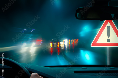 canvas print picture bad weather night driving