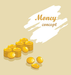 Shining golden coins. Money concept