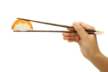female hand holding sushi sashimi asian food