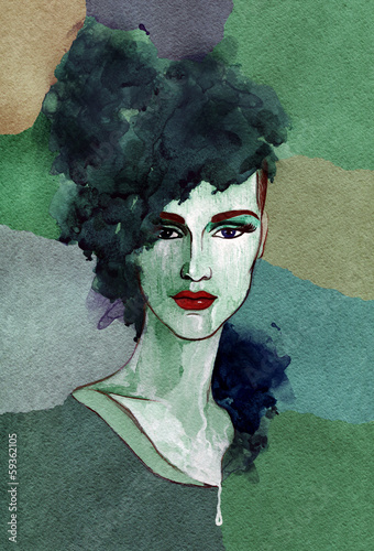 Beautiful woman. watercolor illustration - 59362105