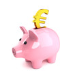 Pink piggy bank with gold euro symbol