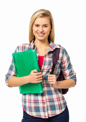 Female College Student With Backpack And File