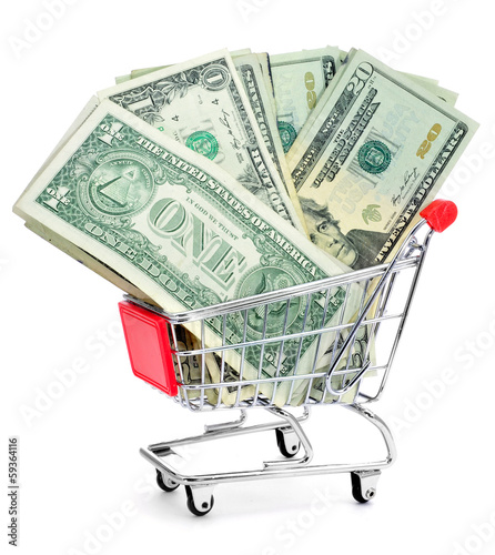 US dollar banknotes in a shopping cart