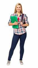 Portrait Of College Student With Backpack And File