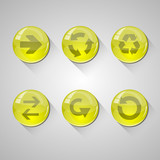 Detailed yellow glossy arrow buttons set