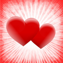 dwa czerwone serca