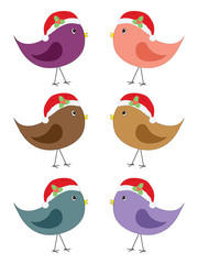 set of birds in Santa hats