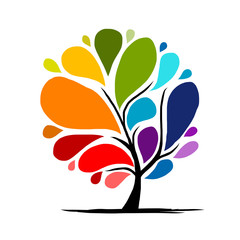 Abstract rainbow tree for your design