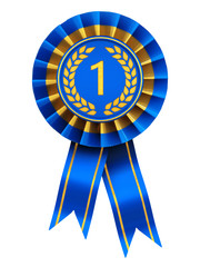 First place , blue and gold rosette , isolated