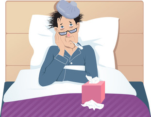 Man sick in bed, taking temperature