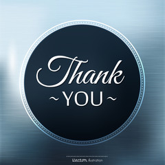 Thank you card on color background.