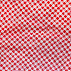 Abstract background texture of a red and white checkered fabric.