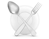 restaurant symbol - silhouette of fork and of spoon on white