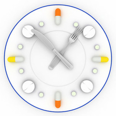 Clock consist of plate, pills, forks with knife on white