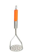 masher with orange handle