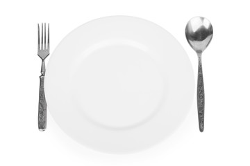 empty white plate, fork and spoon