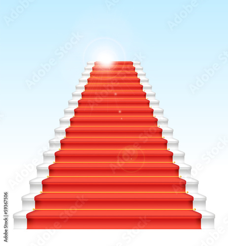 Front staircase and red carpet. On blue sky background.