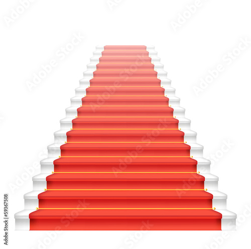 Front staircase and red carpet.