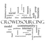 Crowdsourcing Word Cloud Concept in black and white
