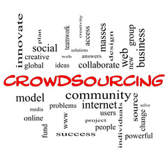 Crowdsourcing Word Cloud Concept in red caps