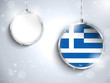 Merry Christmas Silver Ball with Flag Greece