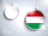 Merry Christmas Silver Ball with Flag Hungary
