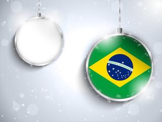 Merry Christmas Silver Ball with Flag Brazil
