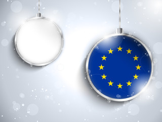 Merry Christmas Silver Ball with Flag Europe