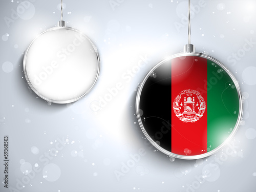 Merry Christmas Silver Ball with Flag Afghanistan