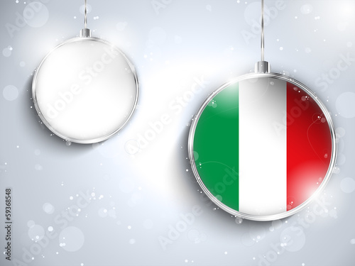 Merry Christmas Silver Ball with Flag Italy