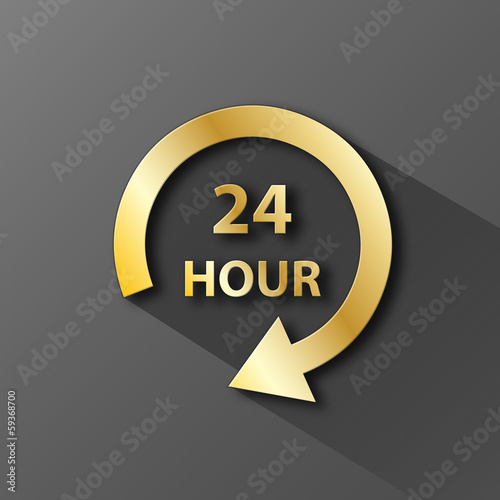 """24 HOUR"" Icon (opening hours customer service button symbol)"