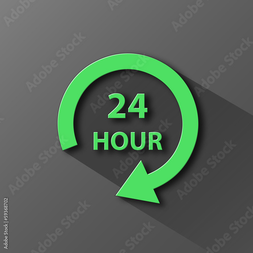 """24 HOUR"" Icon (customer service opening hours button 24-7)"