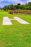 Helipad in the form of the letter H on grass in Seyshelles