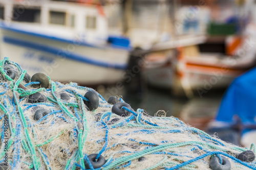 Fishing Web And Boats - 59368961