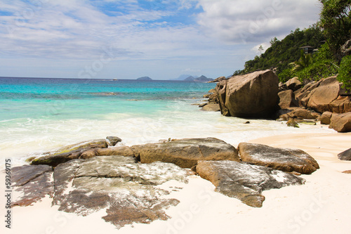 Landscape of beautiful exotic tropical beach with turquoise