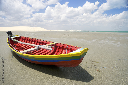 Traditional Colorful Brazilian Fishing Boat Jericoacoara Brazil