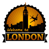 Welcome to London label or stamp
