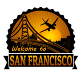 Welcome to San Francisco label or stamp