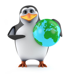 Cute penguin with a globe of the World