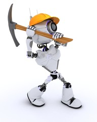 Robot builder with a pickaxe