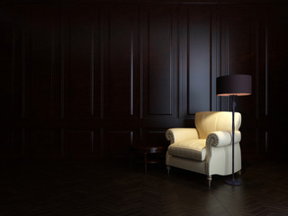 armchair and  floor lamp