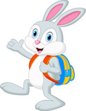 Rabbit cartoon with backpack