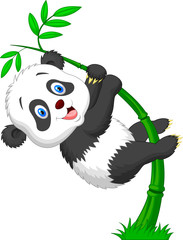 Cute panda cartoon climbing bamboo tree