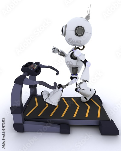 Robot at the gym running on a treadmill