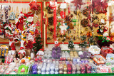 Traditional Christmas toys and gifts at stand