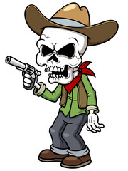 Vector illustration of Cartoon cowboy zombie