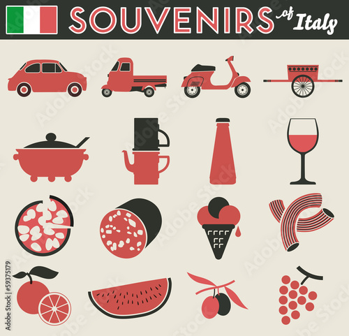 Souvenirs of italy. 16 flat simple pictogram of peculiar items