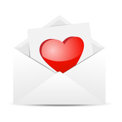 open envelope with a red heart on a white background