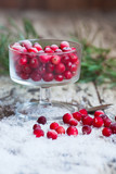 cranberries and snow on a saucer