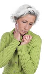 Ältere Frau mit Nacken,Halsschmerzen - woman neck pain